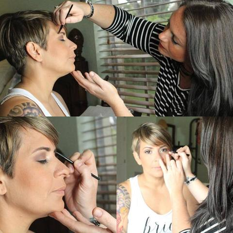 In action Makeup application