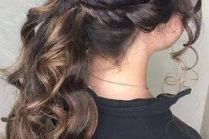Half up half down brown hair style