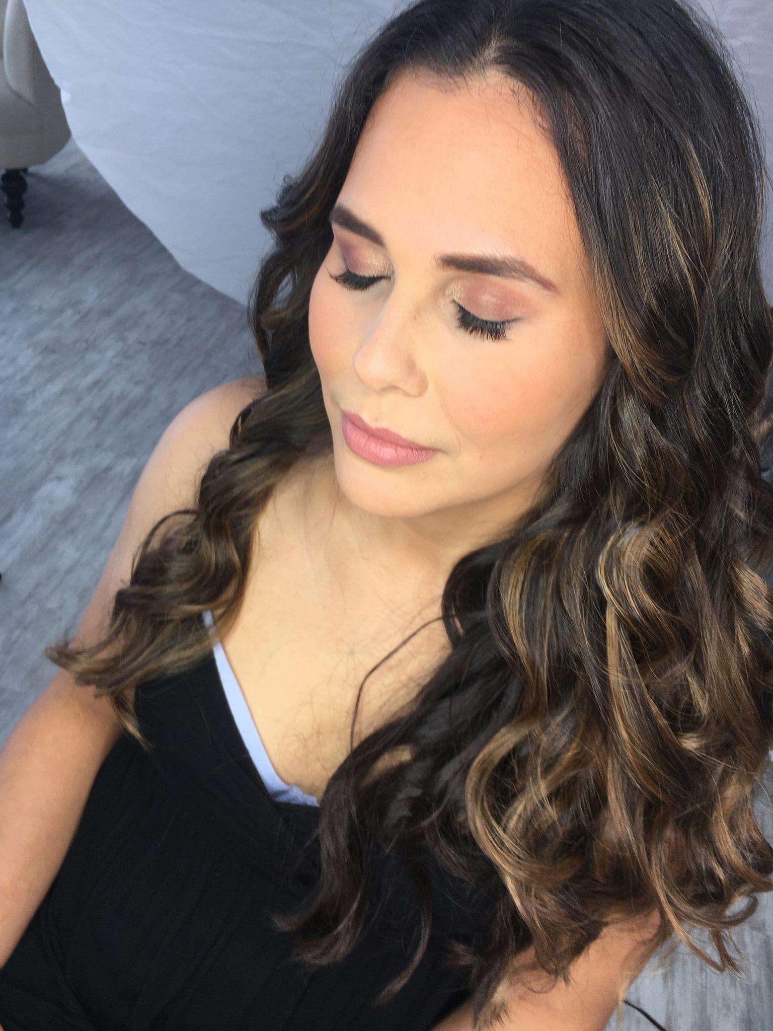 soft sunkissed bridal makeup big wave hair
